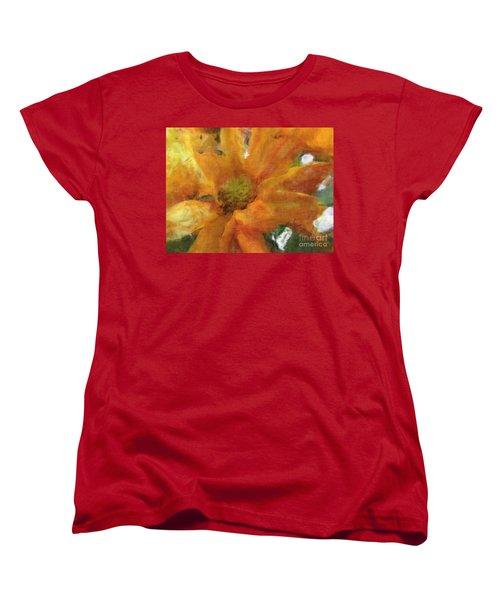 Orange Chrysanthemem Photoart Women's T-Shirt (Standard Cut) by Debbie Portwood
