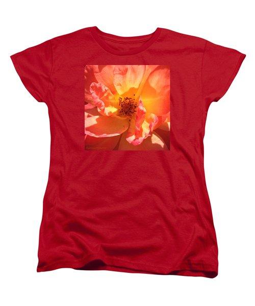 Orange Confection Rose Women's T-Shirt (Standard Cut) by Anna Porter