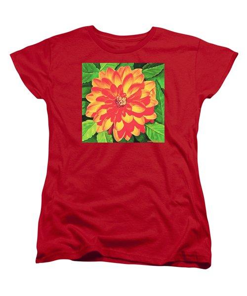 Orange Dahlia Women's T-Shirt (Standard Cut) by Sophia Schmierer