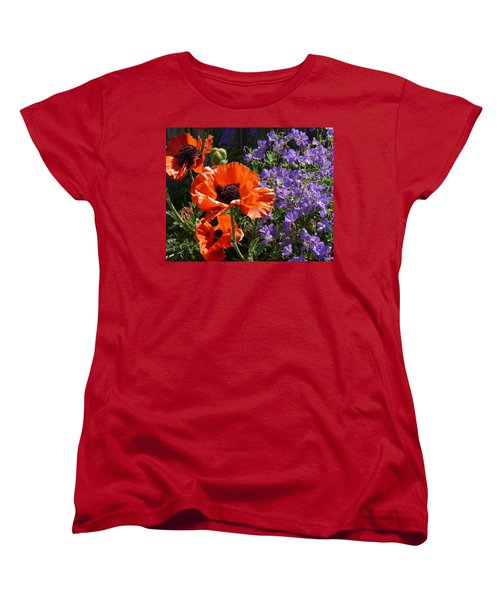 Women's T-Shirt (Standard Cut) featuring the photograph Orange Flowers by Alan Socolik