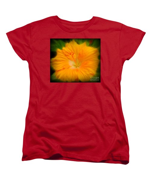 Women's T-Shirt (Standard Cut) featuring the photograph Orange Hibiscus Flower by Clare Bevan