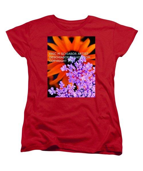 Orange Lavender Flower Women's T-Shirt (Standard Cut) by Eric  Schiabor