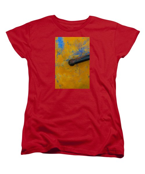 Orange On Blue Women's T-Shirt (Standard Cut) by Edgar Laureano