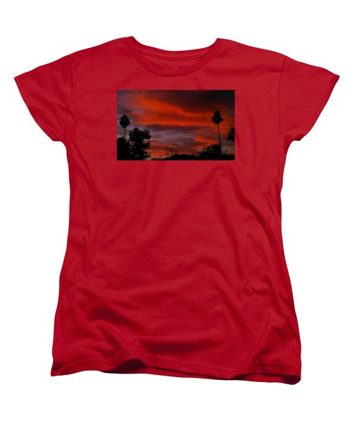 Orange Sky Women's T-Shirt (Standard Cut) by Chris Tarpening