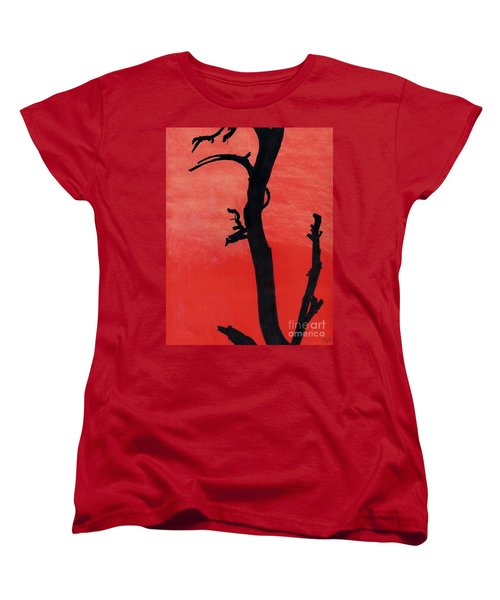 Women's T-Shirt (Standard Cut) featuring the drawing Orange Sunset Silhouette Tree by D Hackett