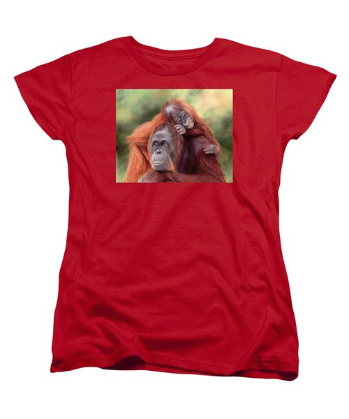 Orangutans Painting Women's T-Shirt (Standard Cut) by Rachel Stribbling