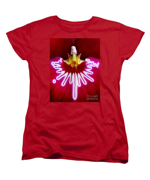 Women's T-Shirt (Standard Cut) featuring the photograph Orchid Harlequinn-pansy Orchid by Jennie Breeze