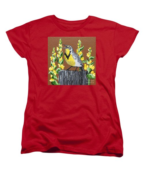 Women's T-Shirt (Standard Cut) featuring the painting Oregon Meadowlark by Jennifer Lake
