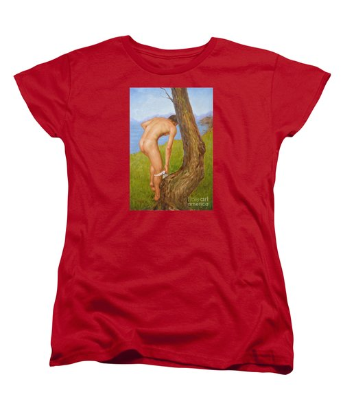 Original Oil Painting Man Body Art Male Nude-029 Women's T-Shirt (Standard Cut) by Hongtao     Huang