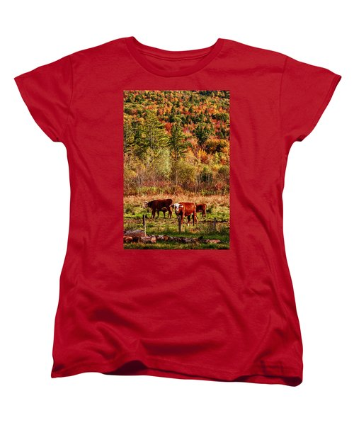 Women's T-Shirt (Standard Cut) featuring the photograph Cow Complaining About Much by Jeff Folger