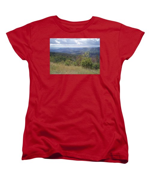 Women's T-Shirt (Standard Cut) featuring the photograph Overlook Into The Mist by Fortunate Findings Shirley Dickerson