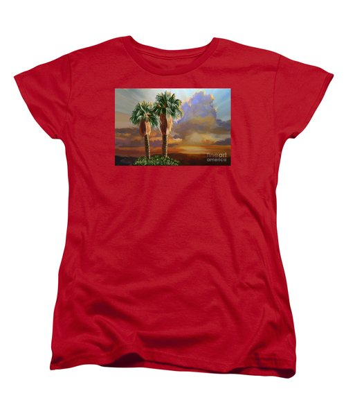 Women's T-Shirt (Standard Cut) featuring the painting Palm Tree Cabo Sunset by Tim Gilliland