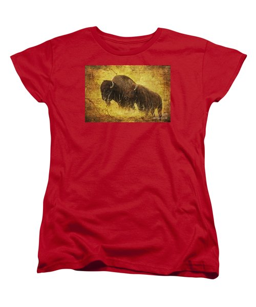 Women's T-Shirt (Standard Cut) featuring the digital art Parent And Child - American Bison by Lianne Schneider