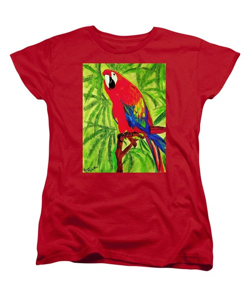Parrot In Paradise Women's T-Shirt (Standard Cut) by Renee Michelle Wenker