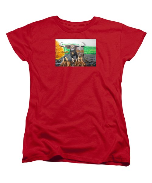 Women's T-Shirt (Standard Cut) featuring the painting Paths In The Soil  by Lazaro Hurtado