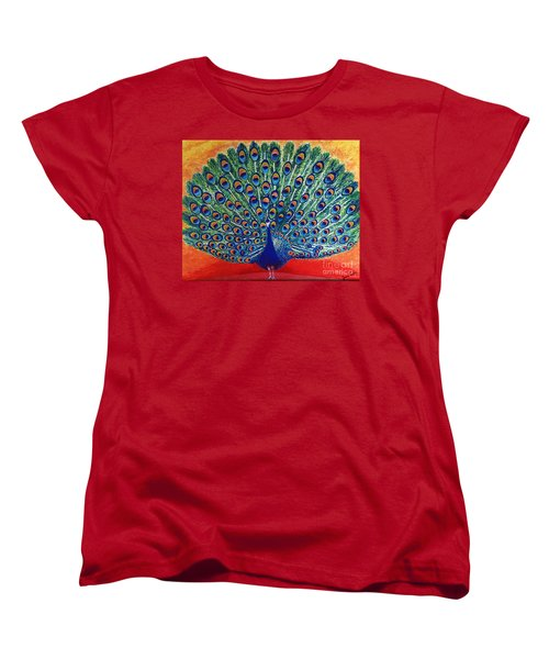 Women's T-Shirt (Standard Cut) featuring the painting Peacock By Jasna Gopic by Jasna Gopic