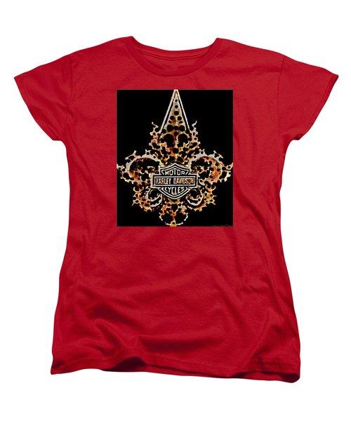 Women's T-Shirt (Standard Cut) featuring the digital art Perforated Fleurs De Lys With Harley Davidson Logo by Danielle  Parent