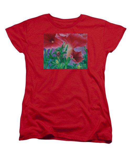 Women's T-Shirt (Standard Cut) featuring the painting Petunia Skies by Pamela Clements