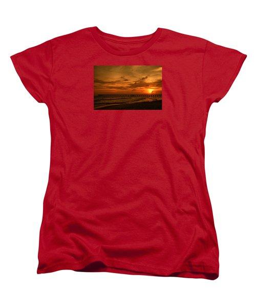 Pier At Sunset Women's T-Shirt (Standard Cut) by Sandy Keeton