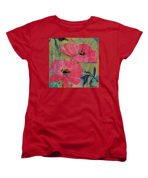 Women's T-Shirt (Standard Cut) featuring the painting Pink Blossoms by Robin Maria Pedrero