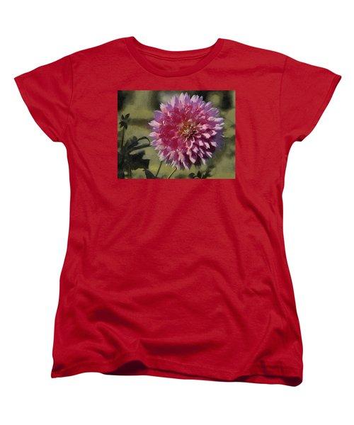 Women's T-Shirt (Standard Cut) featuring the painting Pink Dahlia by Jeff Kolker
