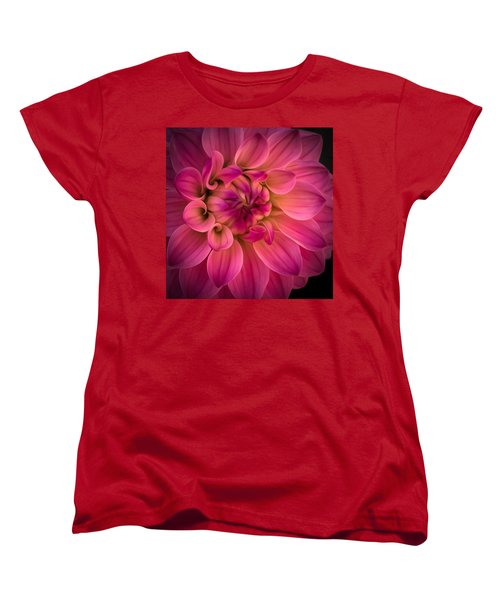 Pink Dahlia Women's T-Shirt (Standard Cut) by Linda Villers