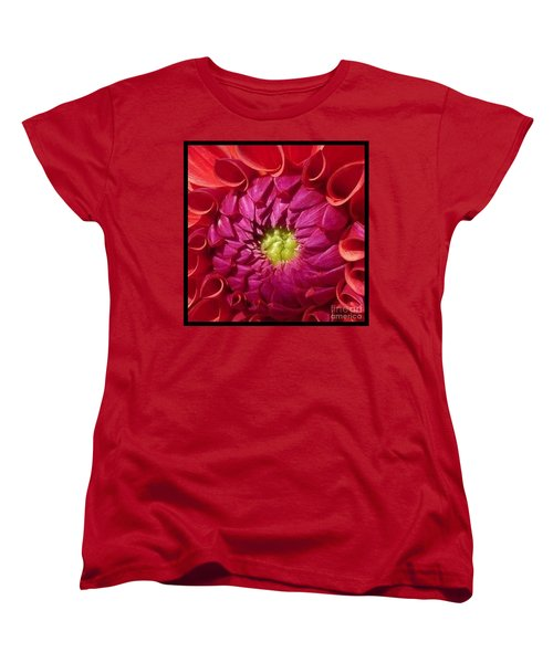Women's T-Shirt (Standard Cut) featuring the photograph Pink Dahlia Variation by Susan Garren