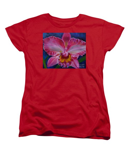 Women's T-Shirt (Standard Cut) featuring the painting Pink Orchid by Jenny Lee