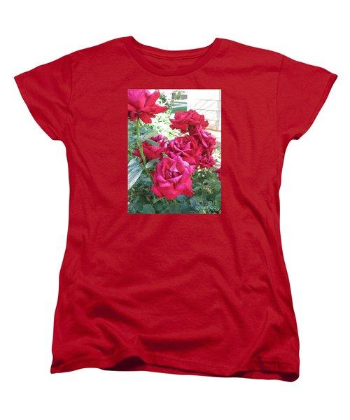 Women's T-Shirt (Standard Cut) featuring the photograph Pink Roses by Chrisann Ellis