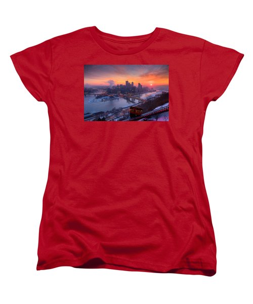 Pittsburgh Skyline Winter 2 Women's T-Shirt (Standard Cut) by Emmanuel Panagiotakis