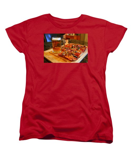 Pizza And Beer Women's T-Shirt (Standard Cut) by Kay Novy