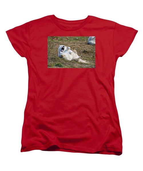 Women's T-Shirt (Standard Cut) featuring the photograph Playful Arctic Wolves by Wolves Only