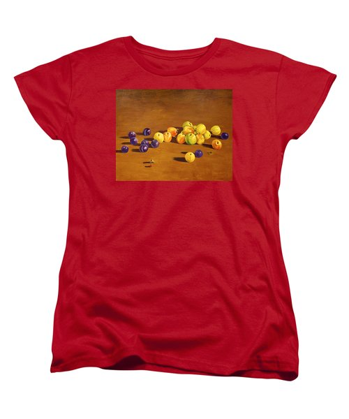 Plums And Apples Still Life Women's T-Shirt (Standard Cut) by Alexandra Maria Ethlyn Cheshire