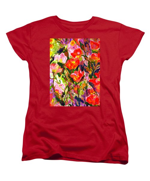 Women's T-Shirt (Standard Cut) featuring the mixed media Poppies by Beth Saffer