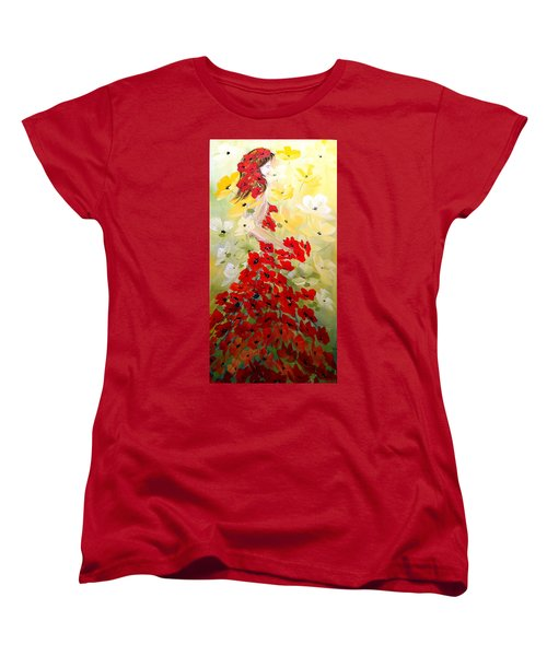 Women's T-Shirt (Standard Cut) featuring the painting Poppies Lady by Dorothy Maier