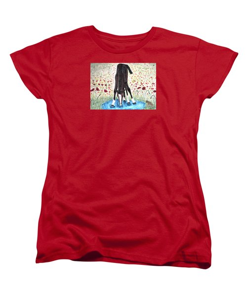 Women's T-Shirt (Standard Cut) featuring the painting Poppies N  Puddles by Angela Davies