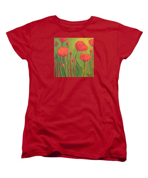 Women's T-Shirt (Standard Cut) featuring the painting Poppy Field by Nancy Jolley