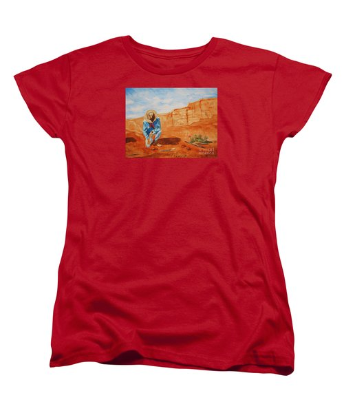 Women's T-Shirt (Standard Cut) featuring the painting Prayer For Earth Mother by Ellen Levinson
