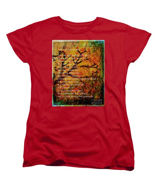Prayer Of St. Francis Of Assisi  And Cherry Blossoms Women's T-Shirt (Standard Cut) by Barbara Griffin
