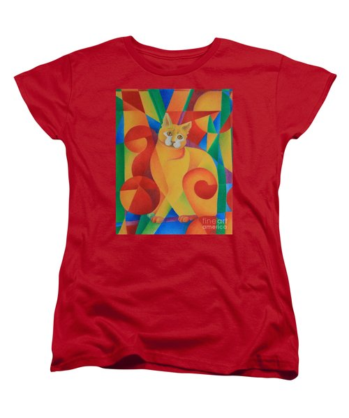 Women's T-Shirt (Standard Cut) featuring the painting Primary Cat II by Pamela Clements