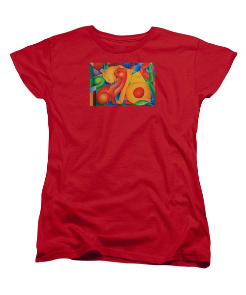 Women's T-Shirt (Standard Cut) featuring the painting Primary Cats by Pamela Clements