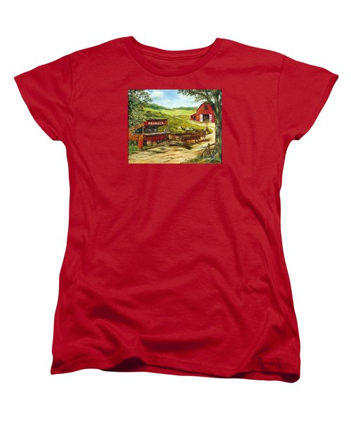 Women's T-Shirt (Standard Cut) featuring the painting Produce Stand by Lee Piper
