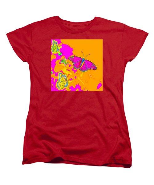 Women's T-Shirt (Standard Cut) featuring the digital art Psychedelic Butterflies by Marianne Campolongo