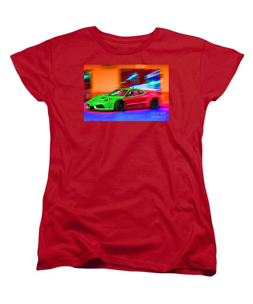 Women's T-Shirt (Standard Cut) featuring the photograph Psychedelic Ferrari by Gunter Nezhoda