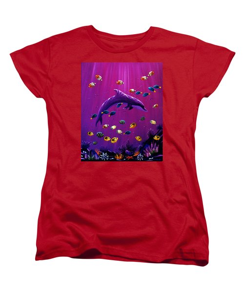 Purple Dolpins Women's T-Shirt (Standard Cut) by Lance Headlee