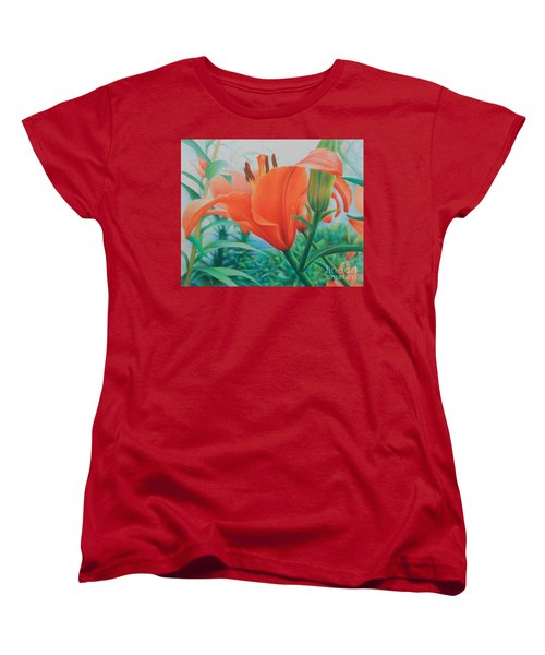 Women's T-Shirt (Standard Cut) featuring the painting Reach For The Skies by Pamela Clements