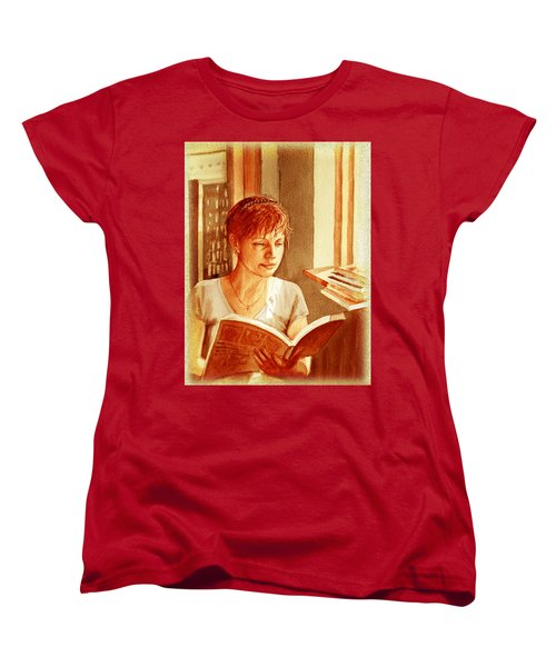 Women's T-Shirt (Standard Cut) featuring the painting Reading A Book Vintage Style by Irina Sztukowski