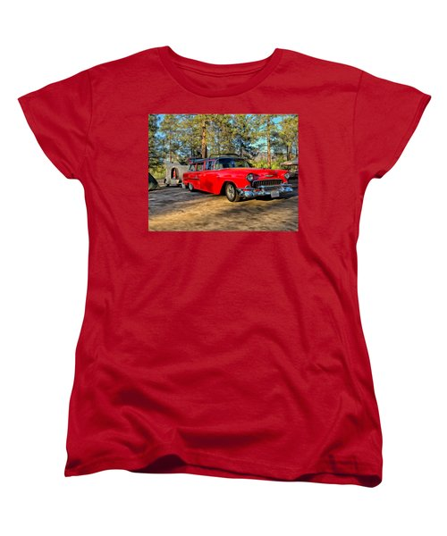Red '55 Chevy Wagon Women's T-Shirt (Standard Cut) by Michael Pickett