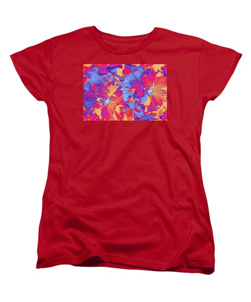 Red And Blue Pansies Pop Art Women's T-Shirt (Standard Cut)
