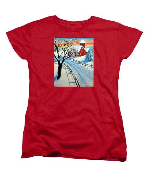 Red Barn In Winter Women's T-Shirt (Standard Cut) by Patricia L Davidson
